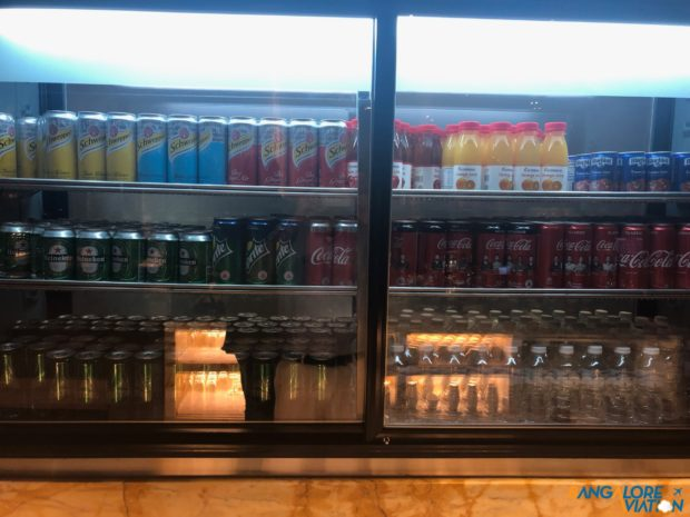 Soft drink selection at the SilverKris Lounge at Changi Airport.