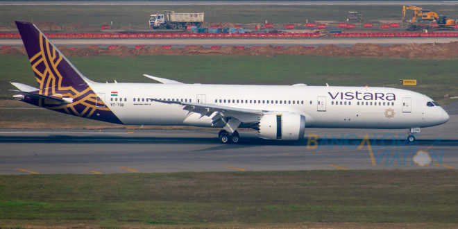 Vistara's first 787-9 lands at New Delhi airport. Photo by Yash Kumar (TeamAviationIndia).
